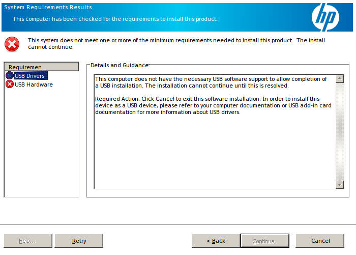 HP Driver Installation Failure - USB not detected
